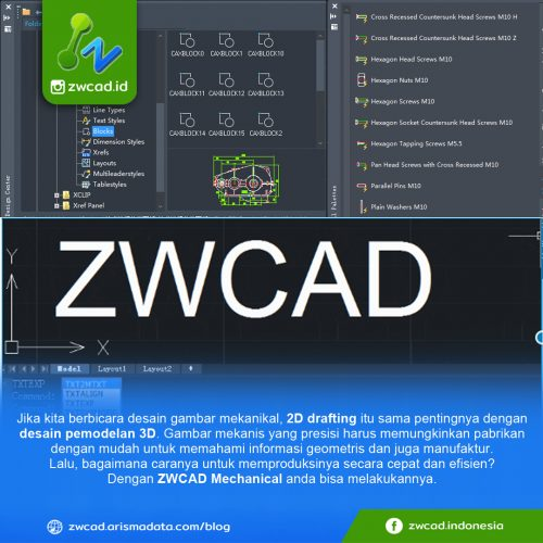 Desain 2d di ZWCAD Mechanical